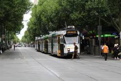 Z3.195 leads three northbound trams stuck at Bourke Street with nowhere to go