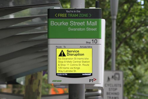 Disruption message on the TramTracker screen at Swanston and Bourke Street