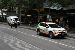 Yarra Trams operations staff talking to Victoria Police officers