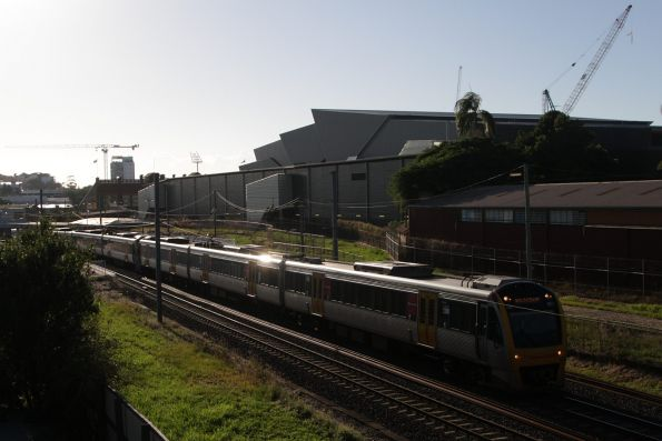 IMU183 passes Exhibition station on a southbound Gold Coast service