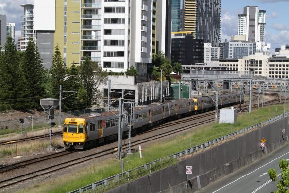 EMU37 departs Roma Street on a Caboolture service via Normanby