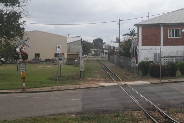 Cane tramway heads through the middle of Ingham