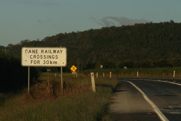 'Cane railway crossings for 30km' sign on the Bruce Highway outside Proserpine