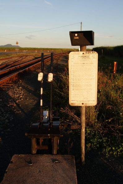Ground frame and indicator lights at the Foxdale cane tramway crossing, north of Proserpine