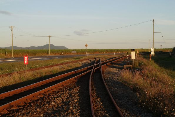 Diamond crossing on the North Coast line at Foxdale, north of Proserpine