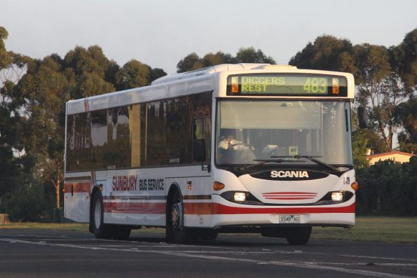 Sunbury Bus Service rego 3348AO on a route 483 service at Diggers Rest