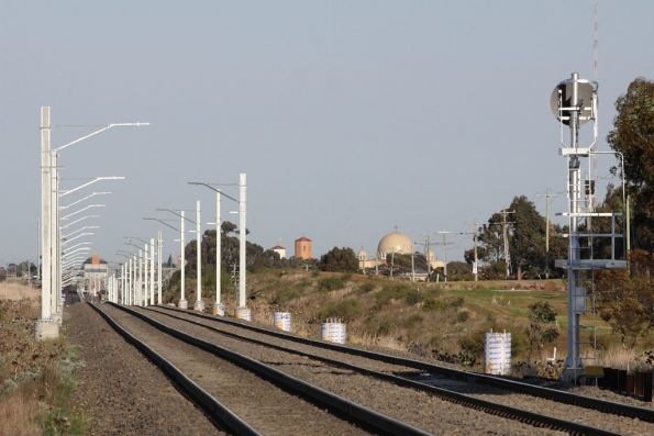 Stanchions in place between Calder Park Driver and Sydenham, but no wires strung