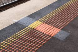 The other dodgy workmanship on the Sunbury line platforms - three rows of tactile dots had to be removed