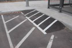 Dodgy looking kerb ramp in the carpark at Diggers Rest