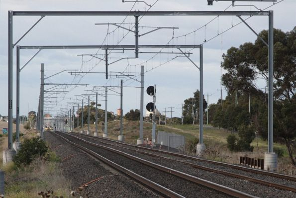 Portal structures south of Calder Park Drive, so that a future station can be built