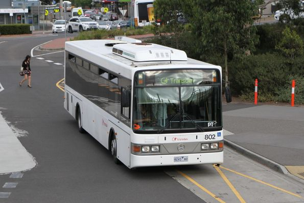 Transdev bus #802 8243AO arrives at Sunshine station with a rail replacement service