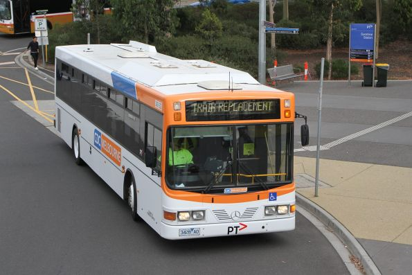 CDC Melbourne bus #23 3428AO arrives at Sunshine station with a rail replacement service