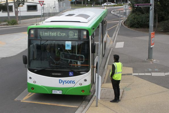 Dysons bus 5456AO on a Sunbury line rail replacement service at Sunshine station