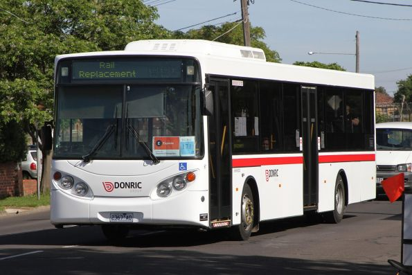 Donric bus #67 2367AO on a Sunbury line rail replacement service at Sunshine station