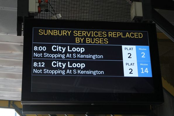 'Sunbury services replaced by buses' message at Sunshine station