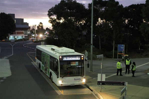 Dysons bus #749 3181AO on a Sunbury line rail replacement service at Sunshine station