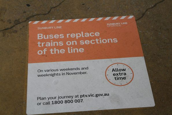 'Sunbury Line Upgrade' bus replacement notice at Sunshine station