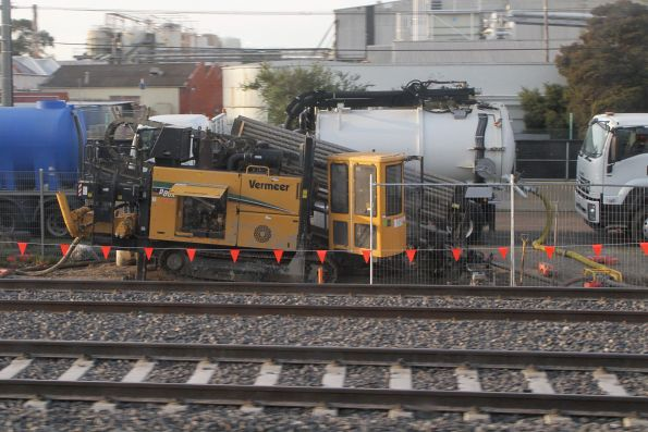 Directional drilling for conduit runs beside the tracks at West Footscray