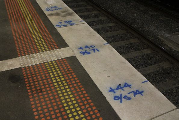 Chainage markers painted on the platform face at Footscray station