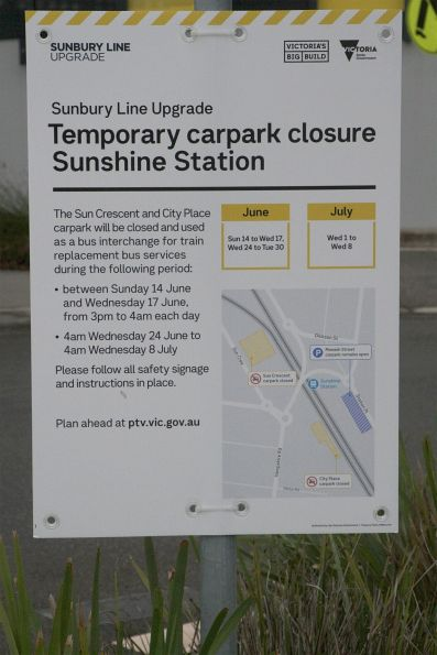 'Temporary car park closure' notice at Sunshine station
