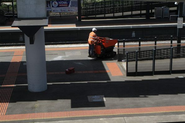 Mini dump truck going for a drive along the platform at Sunshine