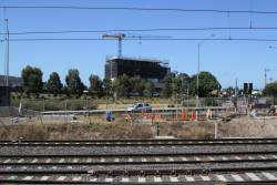 New signal equipment room being constructed at the up end of West Footscray station