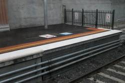 Short platform extension at the up end of Footscray platform 1