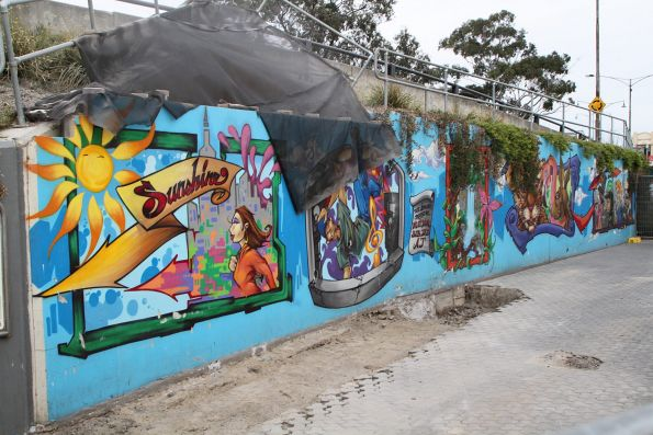 Mural at Sunshine station about to be demolished, to reopen access to a pedestrian underpass that will be reused as part of the Sunshine-Albion bike path