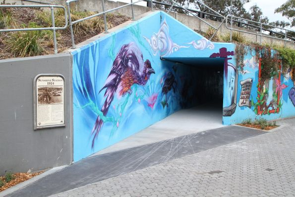 Mural in the reopened pedestrian underpass that forms part of the new Sunshine-Albion bike path
