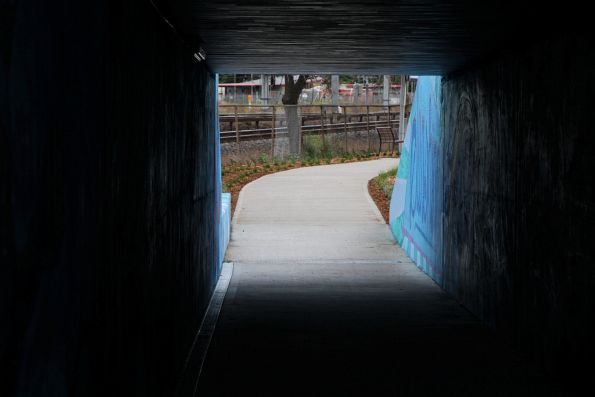 Reopened pedestrian underpass that forms part of the new Sunshine-Albion bike path