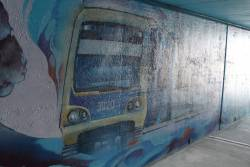 X'Trapolis train features on the mural inside the new Sunbury-Albion bike path subway