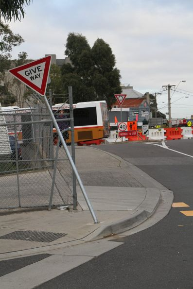 V/Line replacement buses have returned to Sunshine, and the 'Give way' sign has been knocked down again!