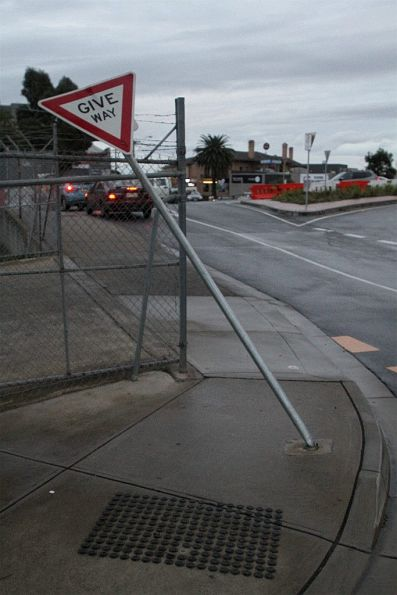The 'give way' sign at Sunshine station still knocked down!