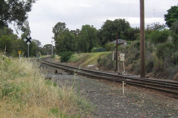 Up end points at Swan Hill, home signal in the distance