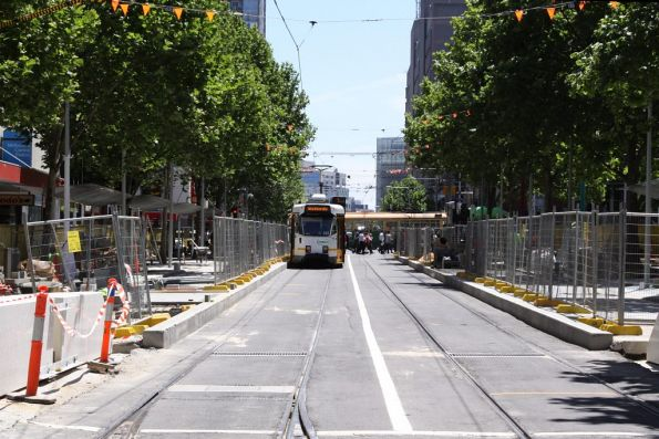 New tram stop *still* under construction on Swanston Street outside Melbourne Central