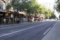 Relaid track on Swanston Street, looking north from Little Bourke Street