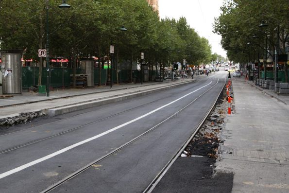 Future platform stop on Swanston Street at Collins Street: they have finally asphalted the track