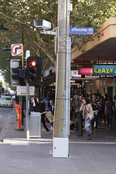 Temporary CCTV camera at Bourke and Swanston Street, pointed at the tram tracks and future platform stop works