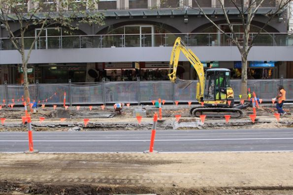 Slow progress on the Collins Street tram stop on Swanston