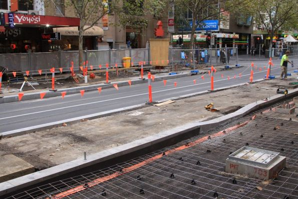 Amazing - signs of work on the Bourke Street platform stop on Swanston Street