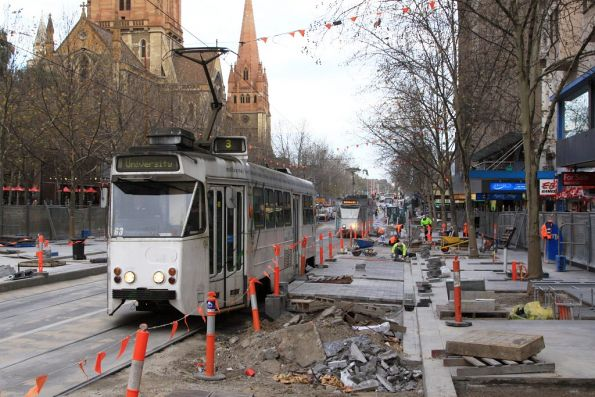 Z1.63 passes the slow moving platform stop works at Swanston and Collins Streets