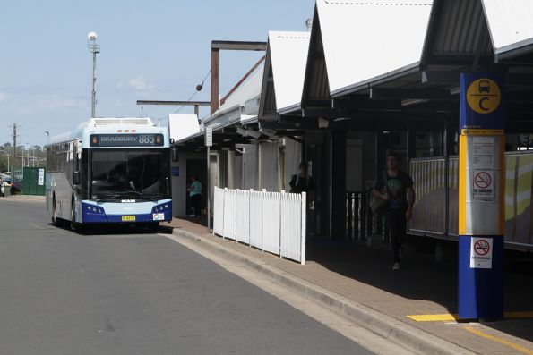 Busabout bus MO6110 on a route 885 service at Campbelltown station