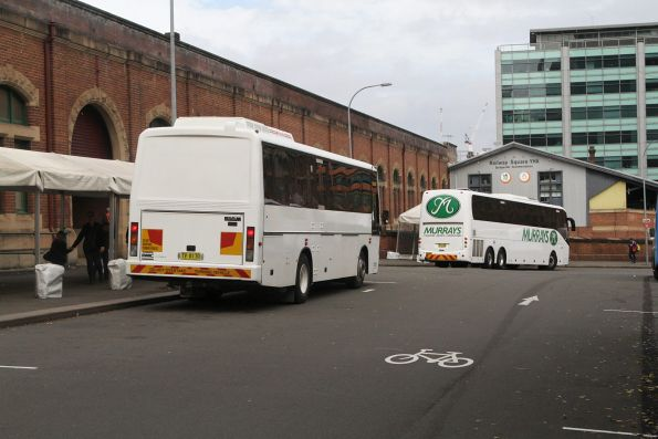 Road coaches outside Central Station for rail replacement on the Main North