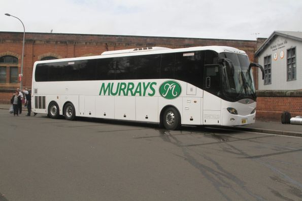 Murrays coach MO319 outside Central Station for rail replacement on the Main North