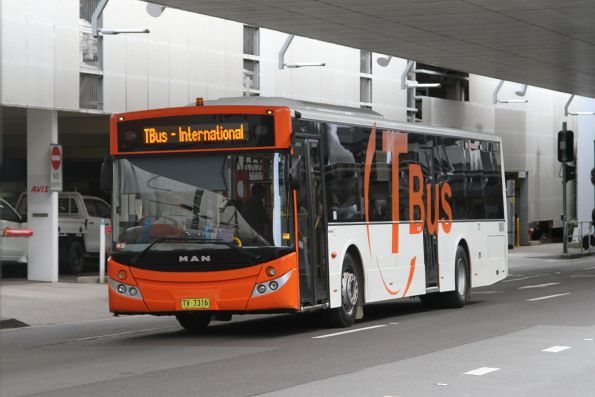 TBus transfer bus TV7316 outside Sydney Airport terminal 3