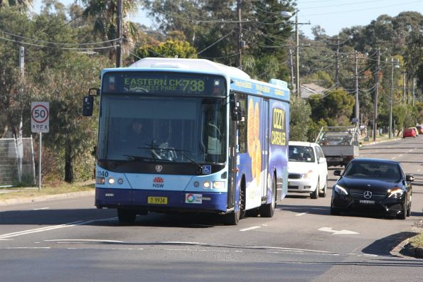 Busways bus #1140 MO9934 on a route 738 service at Rooty Hill