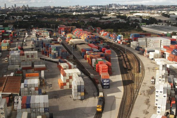 Looking down on rows of containers at Cooks River yard