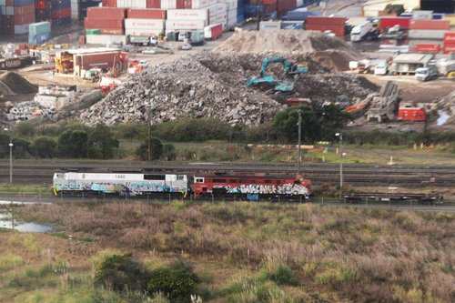 Independent Railways of Australia locomotives MZ1446 and 4498 stored in James Siding, next door to Cooks River yard