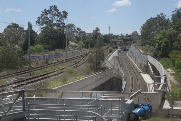Southern Sydney Freight Line dives beneath the Bankstown suburban tracks at Sefton Junction
