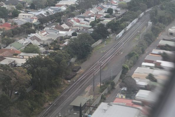 Looking down on the goods lines at Sydenham